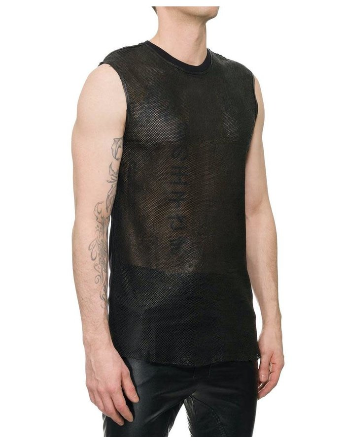M-OJO RISIN DIAMOND CUT LEATHER FRONT TANK - ROMBINO
