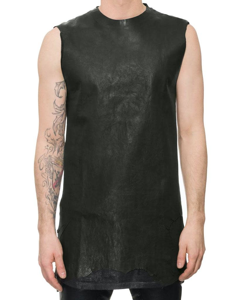 SLEEVELESS LEATHER FRONT SHIRT - DB COLLA