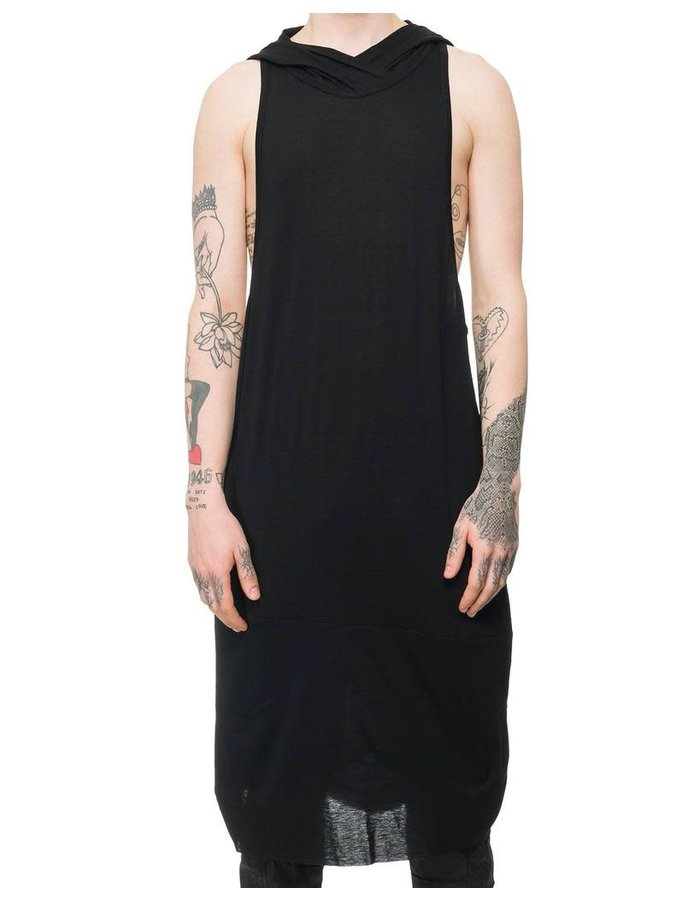 SANDRINE PHILIPPE LONG JERSEY TANK WITH HOOD