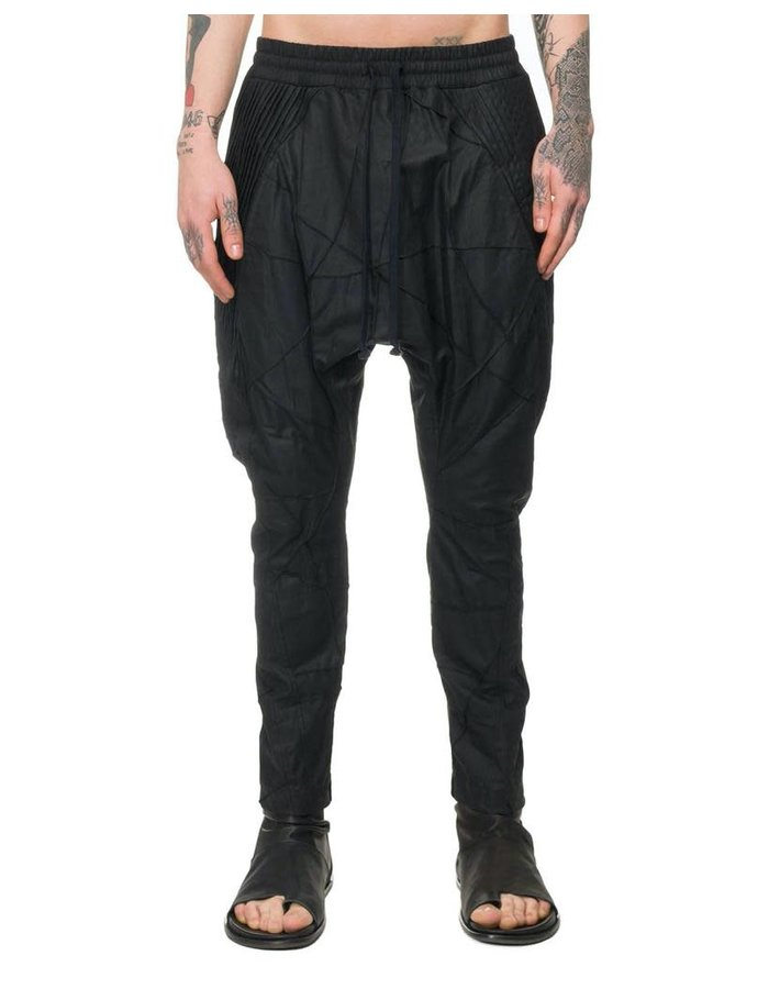 SANDRINE PHILIPPE WAXED PATCHWORK DROP CROTCH PANTS
