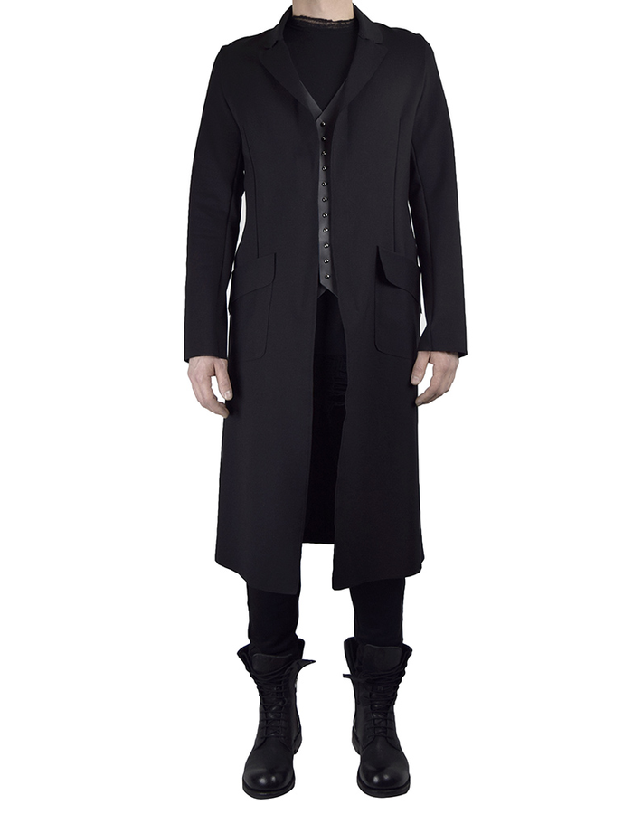 DAVIDS ROAD LONG SLEEVE BLAZER WITH LEATHER DETAIL LONG