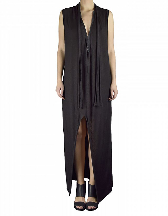 LOST AND FOUND LONG HOOK DRESS IN STRETCH LINEN