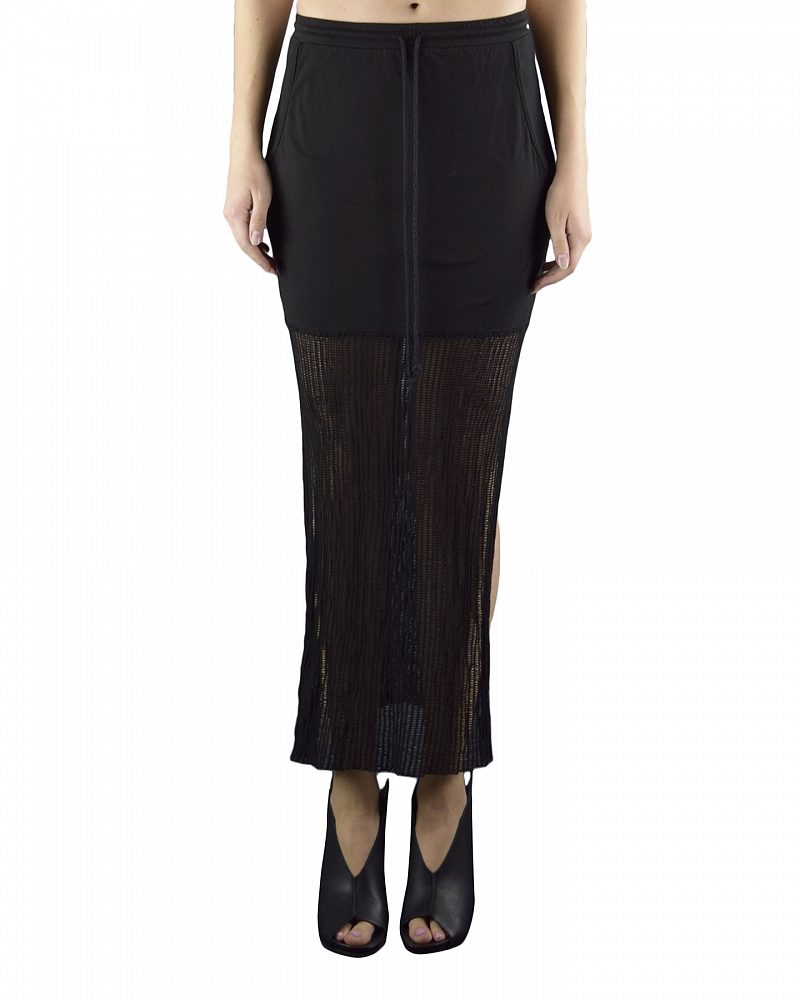 STRETCH LONG SKIRT WITH MESH BOTTOM