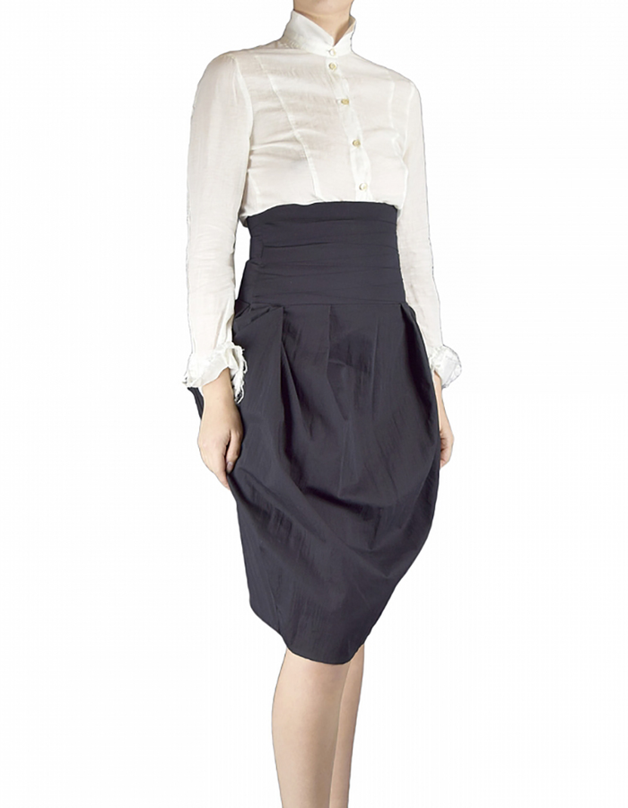 NOSTRA SANTISSIMA HI WAISTED STRETCH COTTON  SKIRT