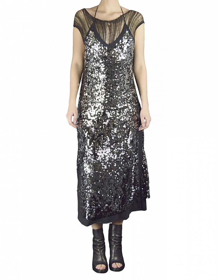 NOSTRA SANTISSIMA LONG SEQUIN SPAGETTI  STRAP DRESS