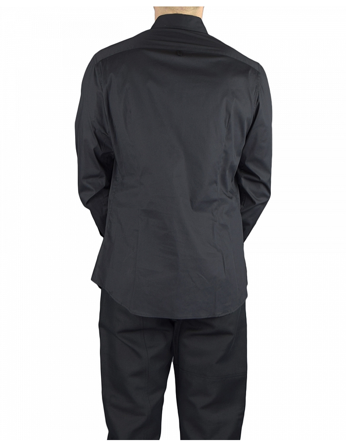 TOM REBL DRESS SHIRT WITH FRONT PANEL DETAIL - BLACK