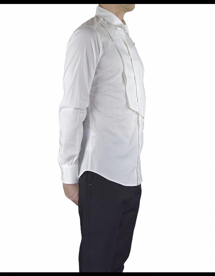 TOM REBL DRESS SHIRT WITH FRONT PANEL DETAIL - WHITE