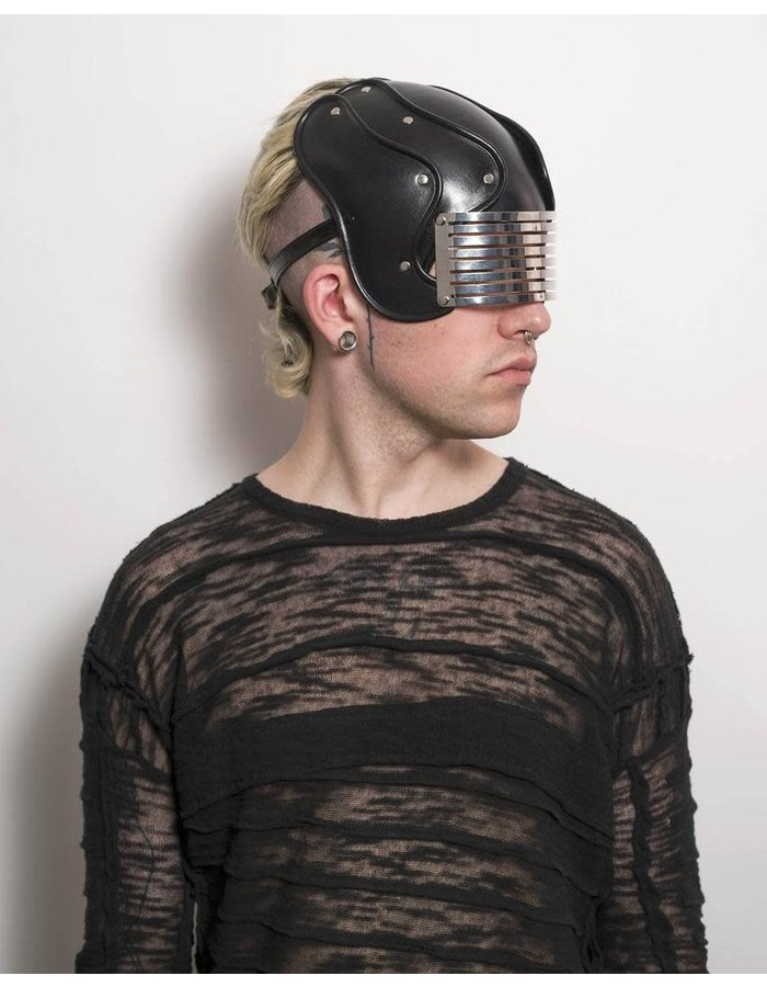 CECILIO LEATHER DESIGNS HELMET WITH METAL VISOR