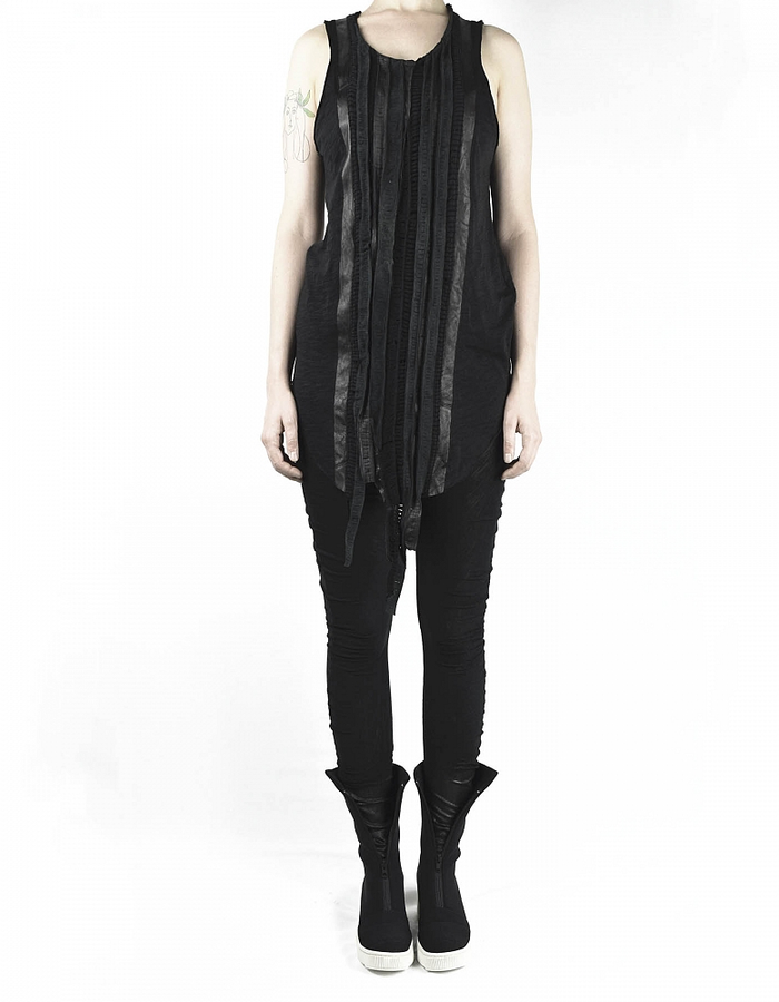 SANDRINE PHILIPPE TANK WITH LEATHER BANDS