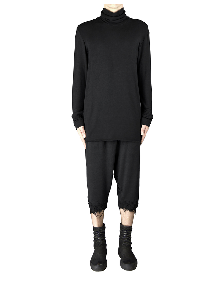 DAVIDS ROAD RAW CUT TURTLENECK TOP - BLACK