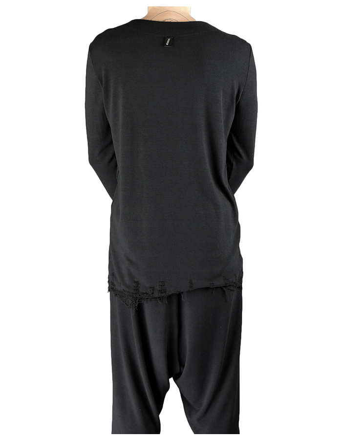 DAVIDS ROAD WOOL L/S TOP WITH DESTROYED BOTTOM BLK