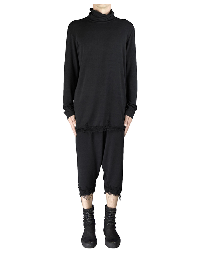 DAVIDS ROAD WOOL TURTLENECK TOP DESTROYED BOTTOM - BLACK