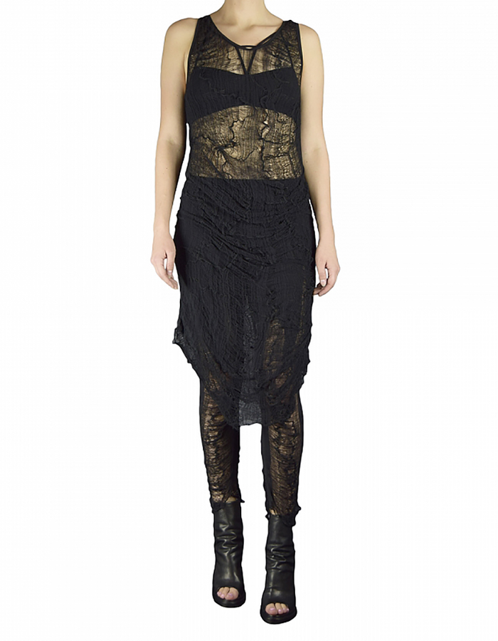 SANDRINE PHILIPPE DEKNITTED AND RE EMBROIDERED TANK DRESS