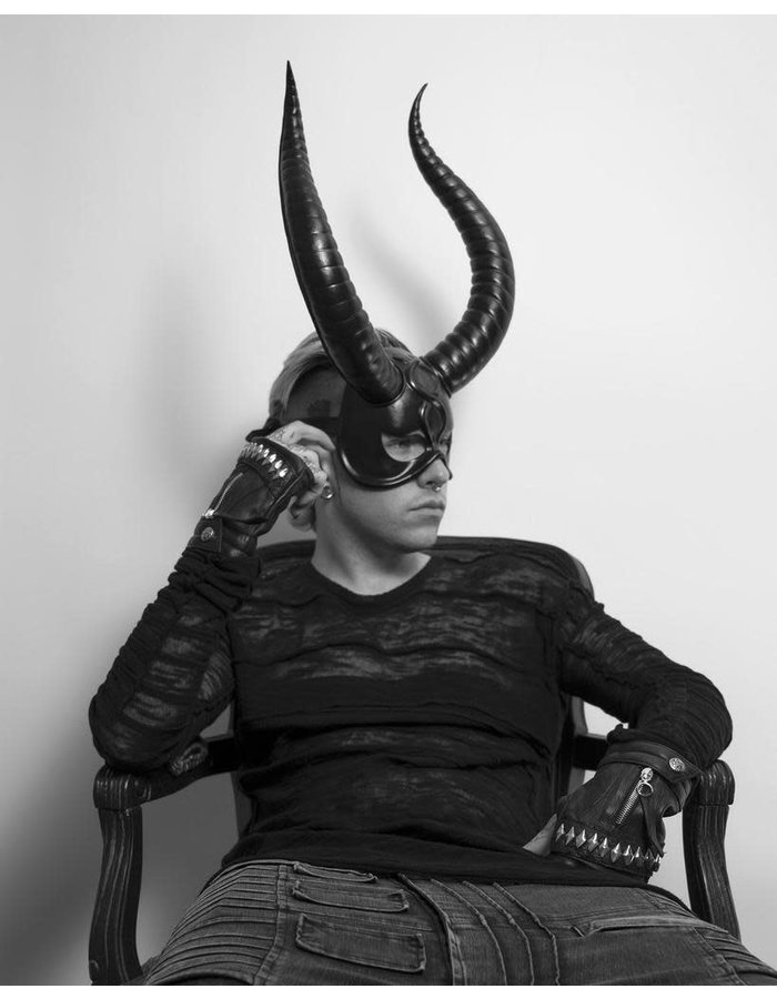 CECILIO LEATHER DESIGNS BIG HORNS FACE MASK