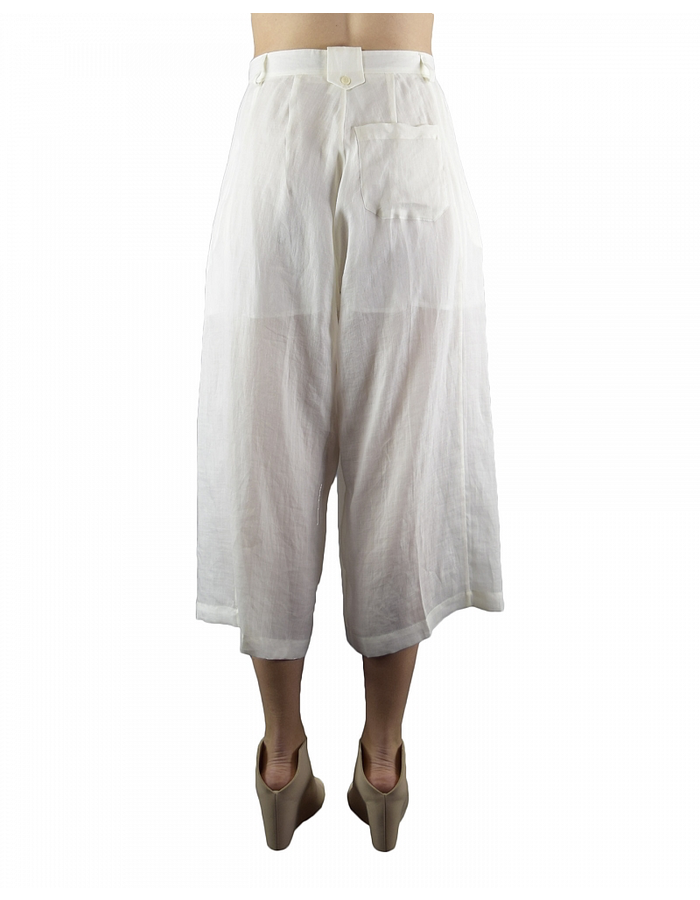 ISABEL BENENATO CROPPED WIDE TROUSERS - MILK
