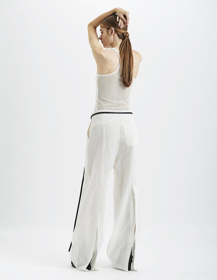 MASNADA SPLIT BACK LINEN PANTS - WHITE