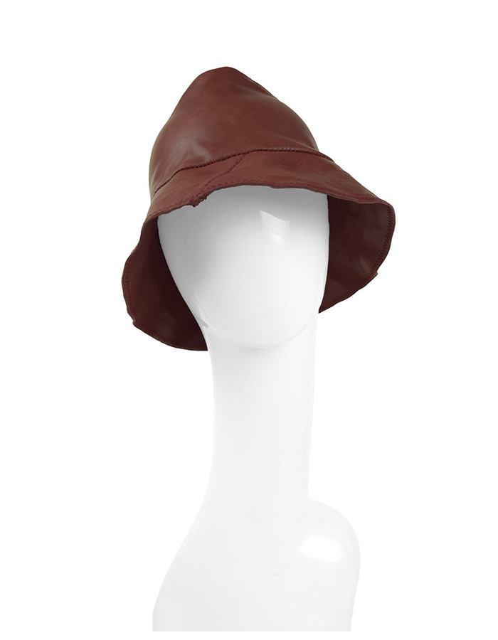 KLOSHAR HATS MILES LEATHER HAT - RED