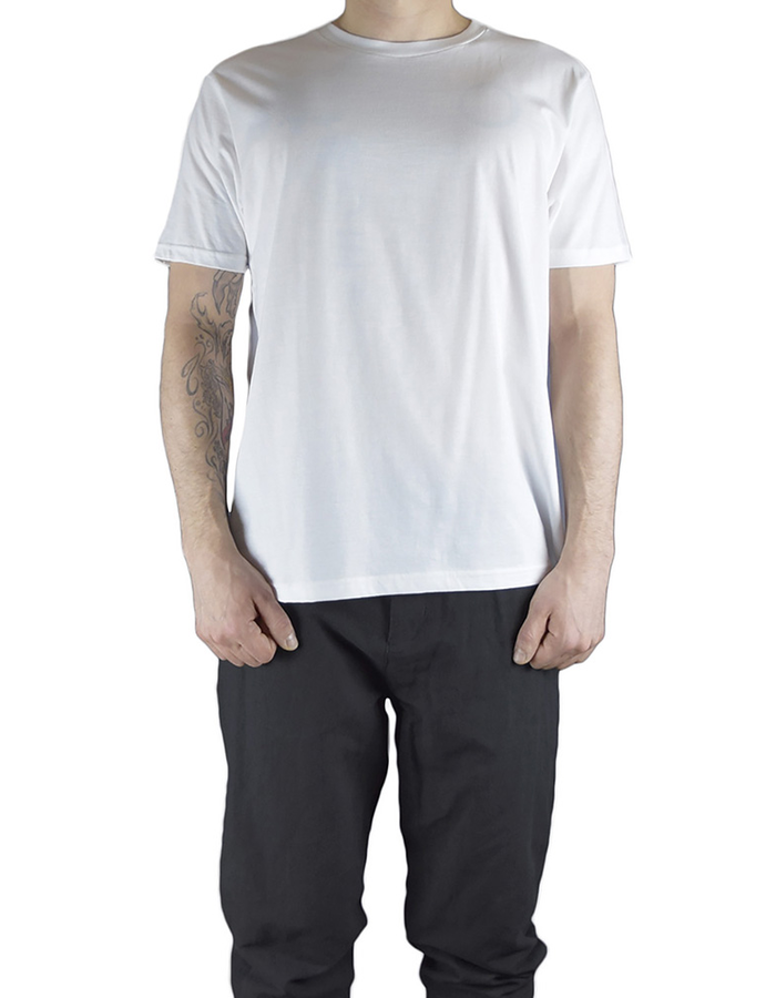 CHRIS P CREW NECK SHORT SLV WITH PARTIAL RIP BACK - WHITE