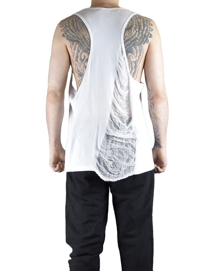 CHRIS P ATHLETIC TANK WIH PARTIAL RIPPING - WHITE
