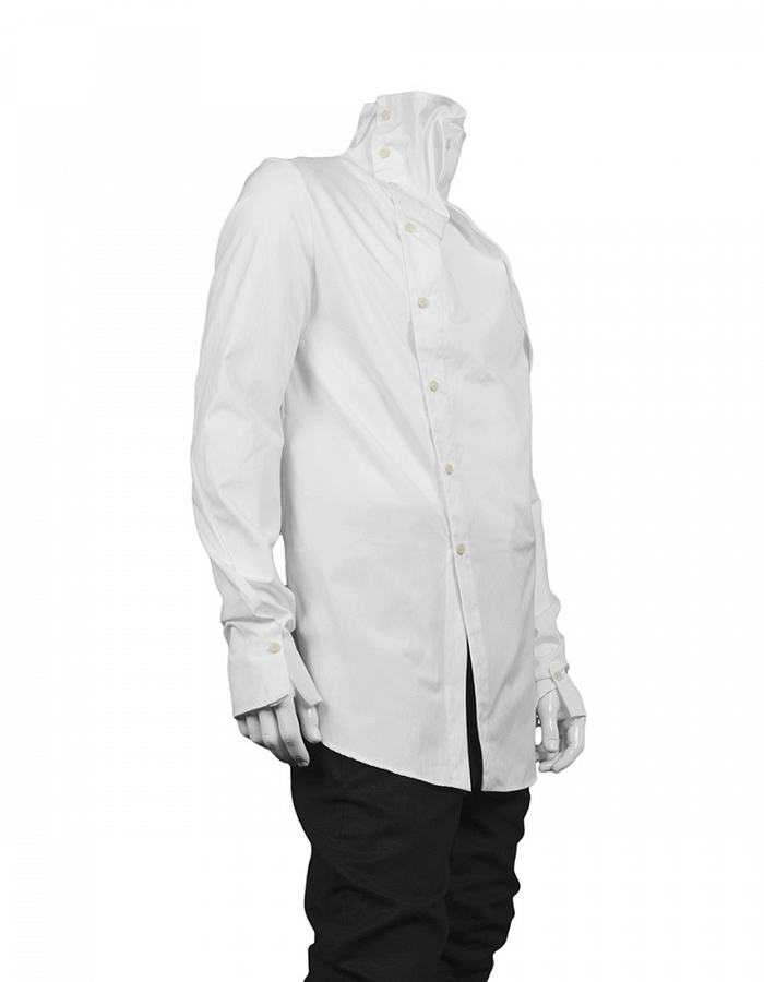 LOST AND FOUND FUNNEL NECK SHIRT - WHITE