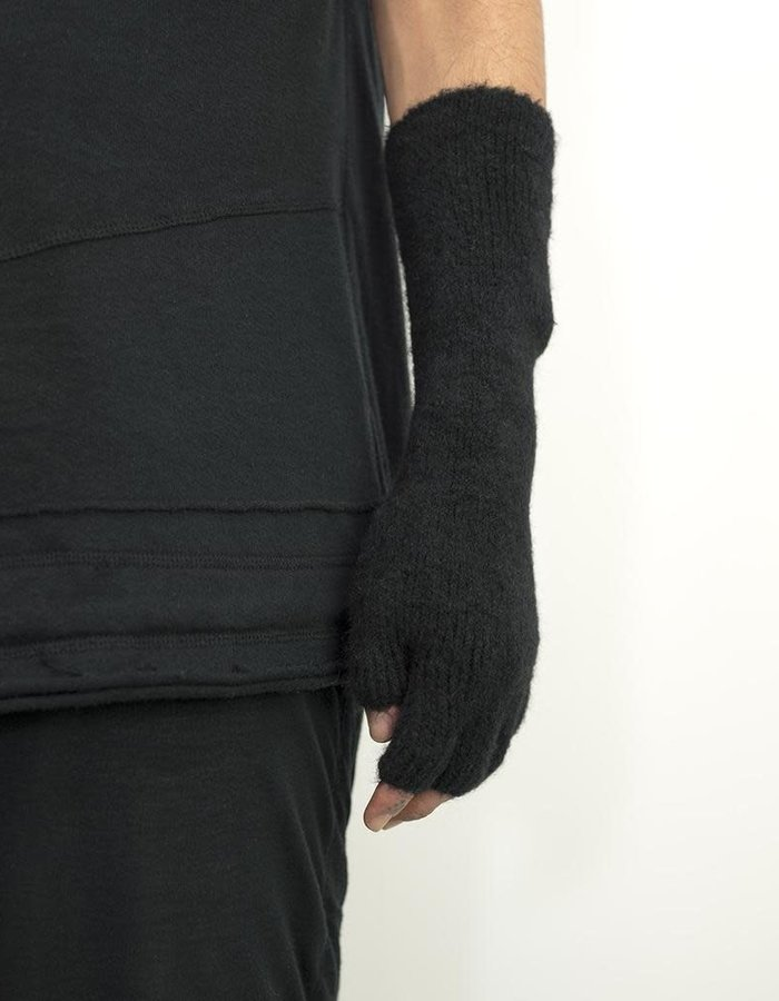 ISABEL BENENATO YAK AND MERINO KNIT GLOVES - BLK