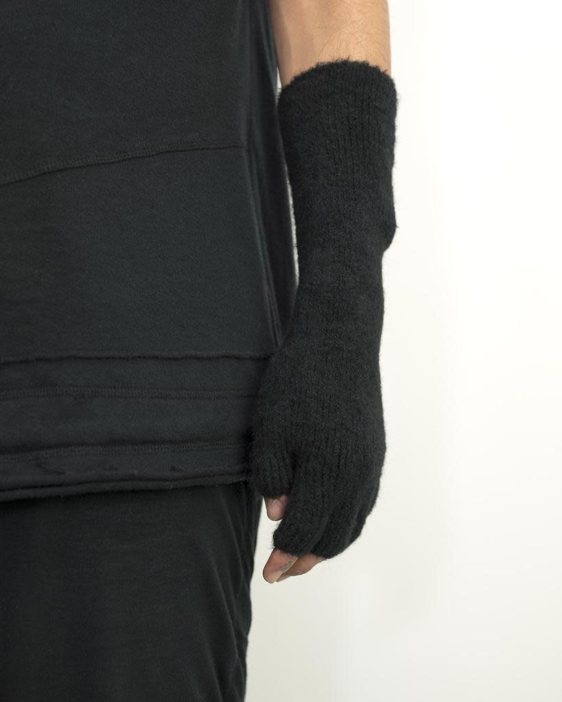 YAK AND MERINO KNIT GLOVES - BLK