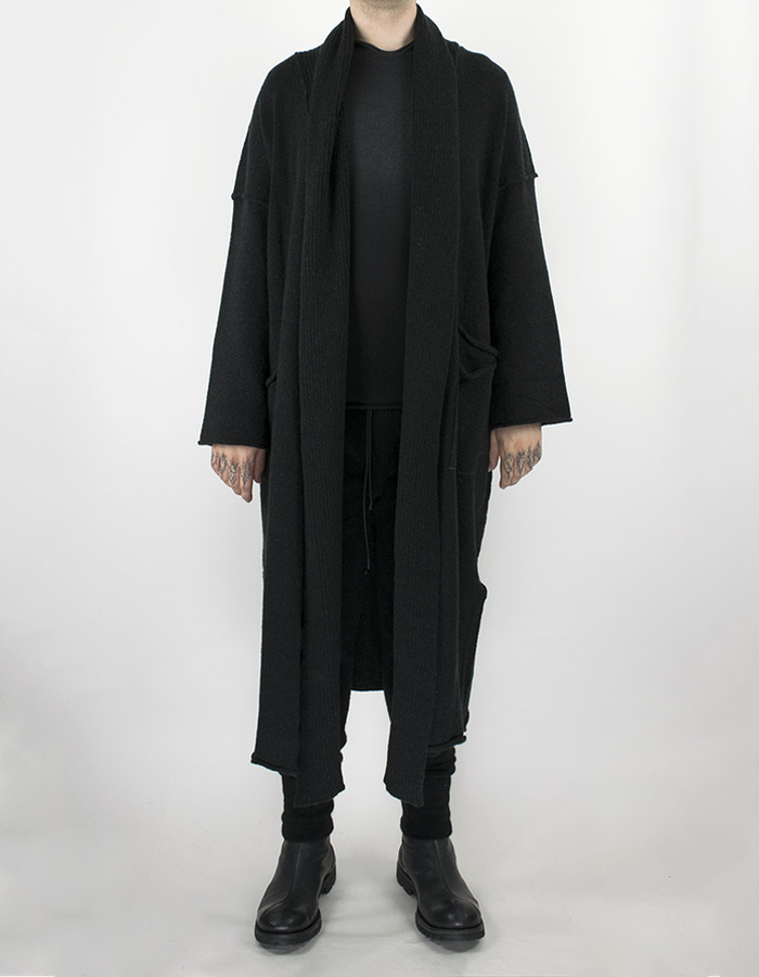 ISABEL BENENATO KNIT LONG CARDIGAN - BLACK