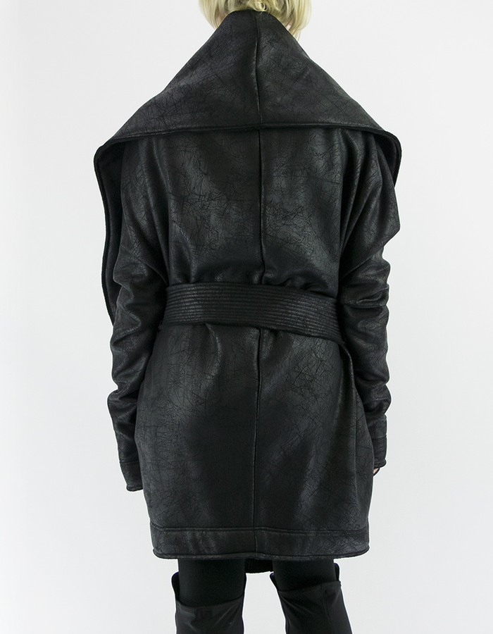 DAVIDS ROAD SWEATSHIRT ROUND COAT SHORT WITH LEATHER EFFECT