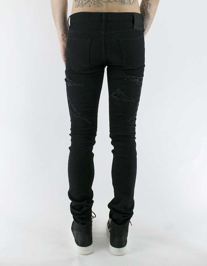 FAGASSENT RED LEATHER INSET RIPPED JEANS