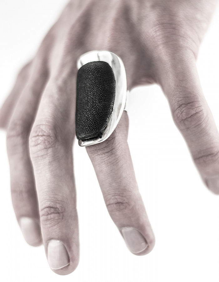 INTENEBRIS by JS LEATHER AND SILVER RING