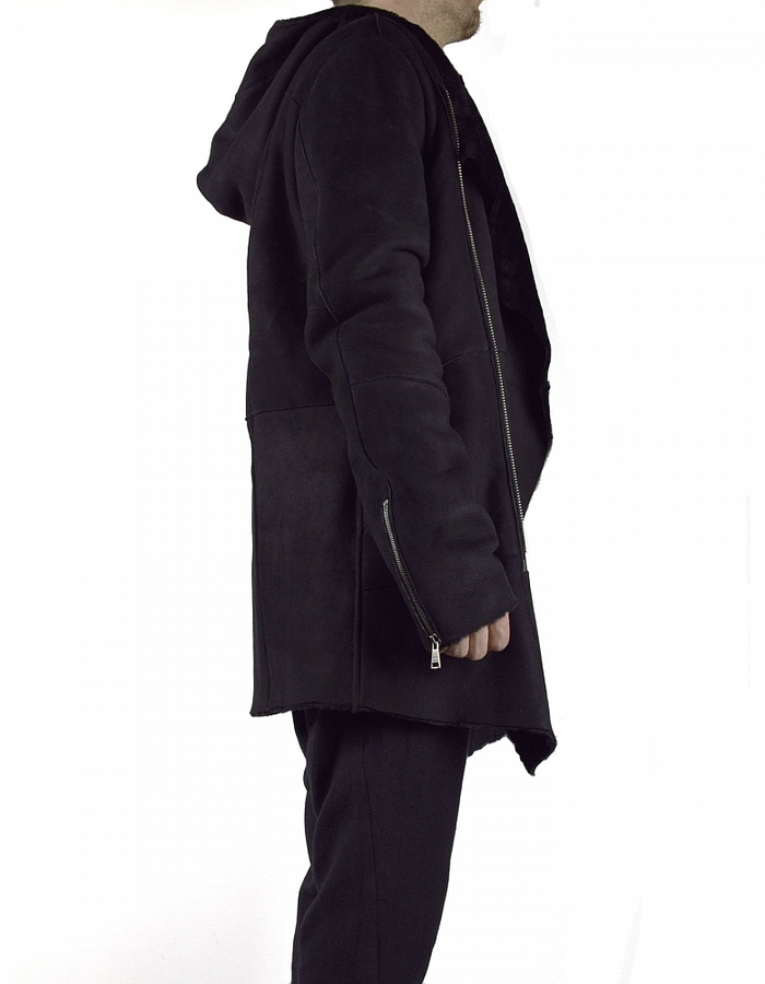 GIORGIO BRATO HOODED SHEARLING COAT