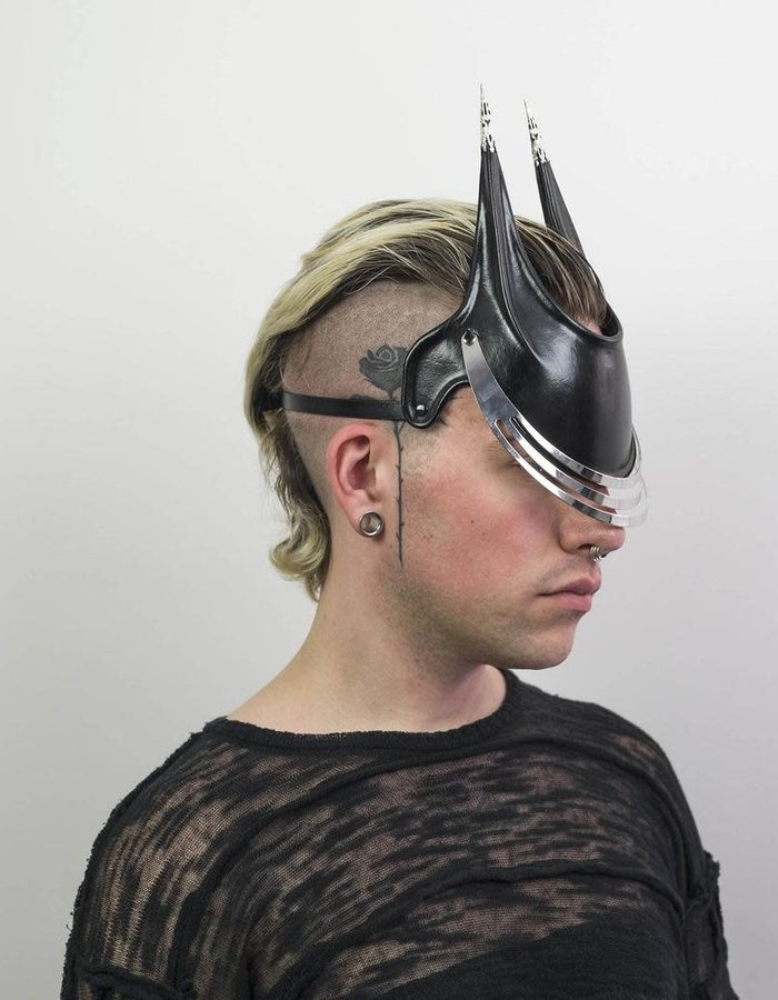 CECILIO LEATHER DESIGNS GRID FACE MASK 3 SLITS - BLACK/SILVER