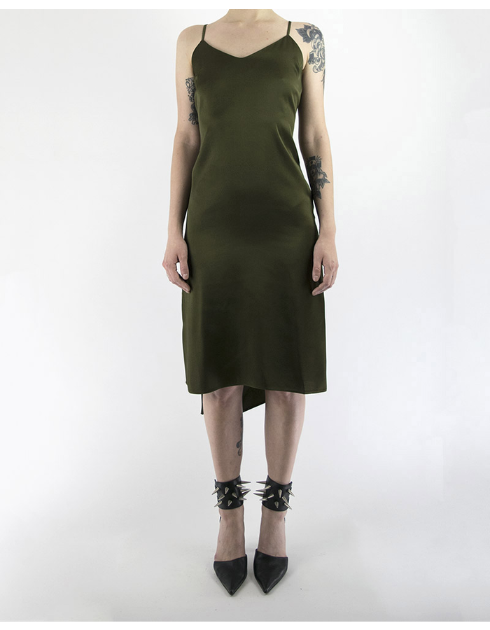 ANDREA YAAQOV SPAGHETTI STRAP DRESS  W/ PLUNGE BACK