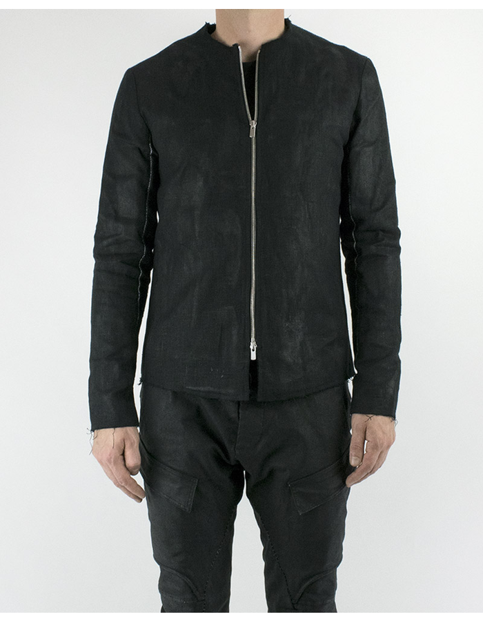 ATELIER AURA RUBBER COATED LINEN ZIP JACKET