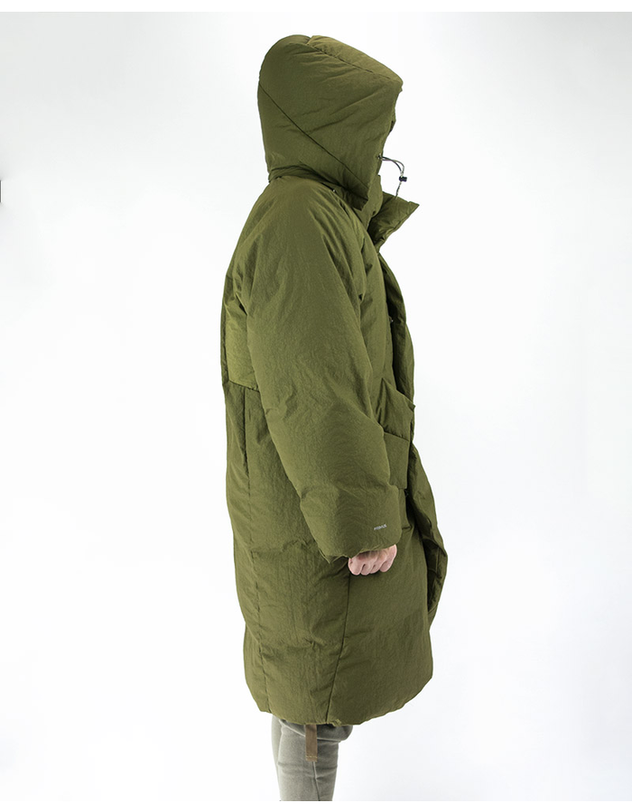 HAMCUS OVERSIZED QUILTED COAT WITH DETACHABLE HOOD - OLIVE