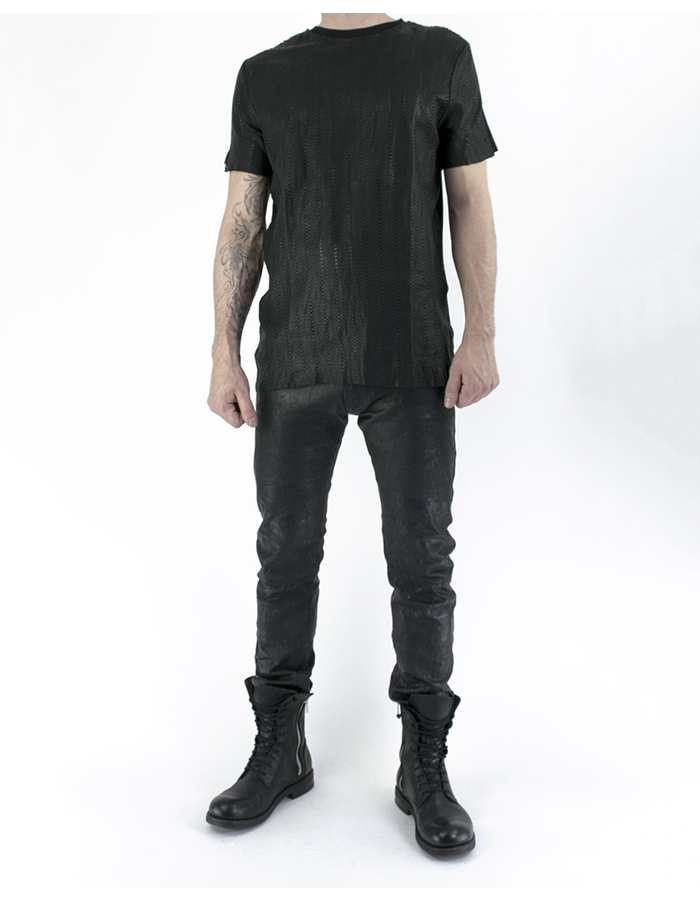 M-OJO RISIN HONEYCOMB LEATHER T-SHIRT - ISTRICE