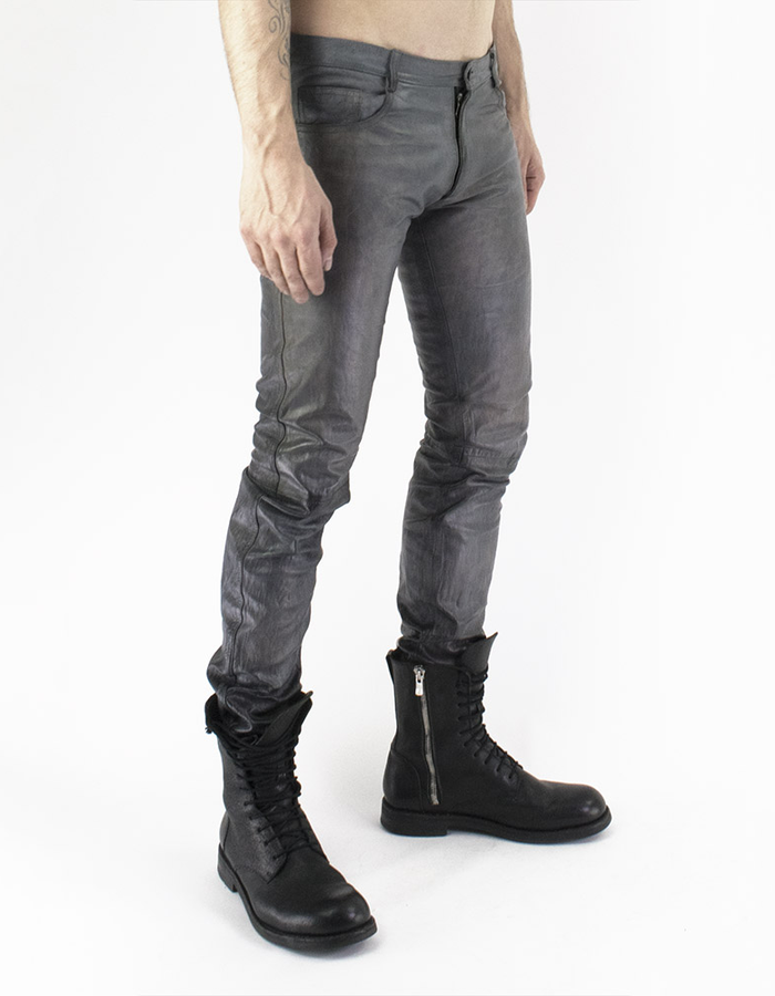 M-OJO RISIN' 5 POCKET LEATHER JEANS - THERMO