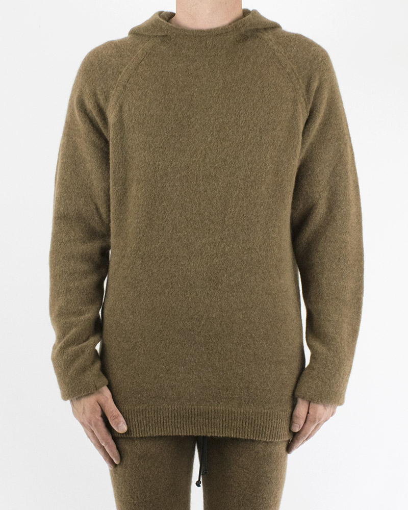 KNIT HOODED CREW NECK - CAMEL