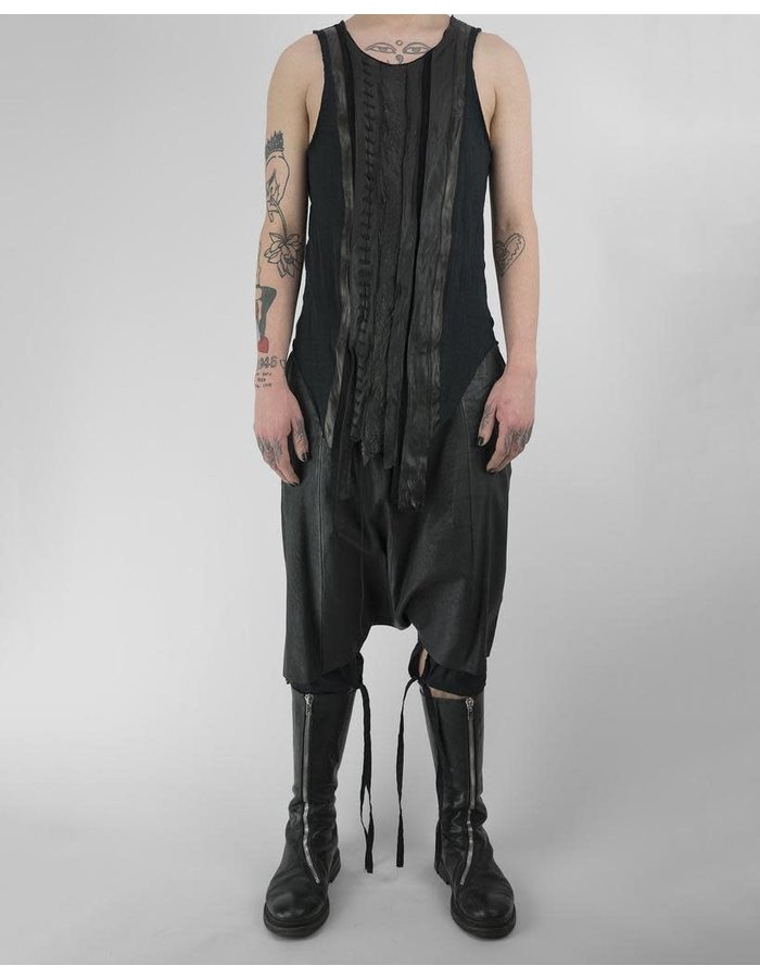 SANDRINE PHILIPPE LEATHER STRIP TANK TOP WITH LACING