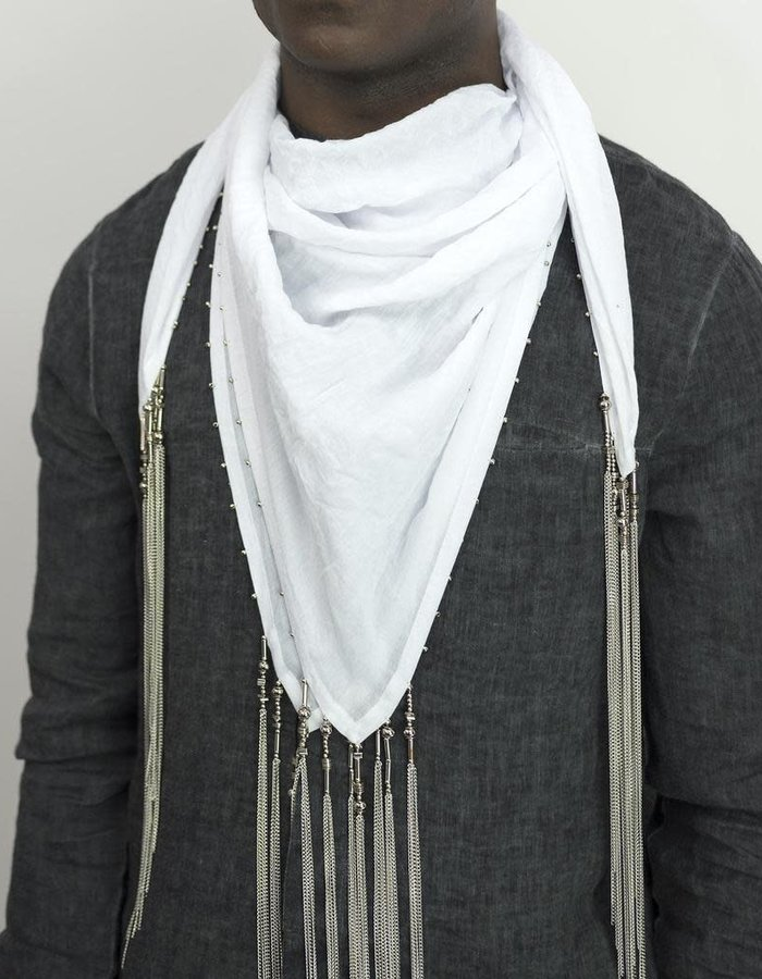 DAVIDS ROAD SQUARE SCARF WITH METAL DETAILS - WHITE