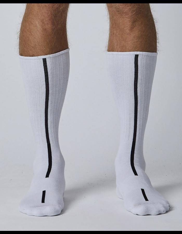 THOM KROM LONG WHITE SOCKS WITH BLACK STRIPE