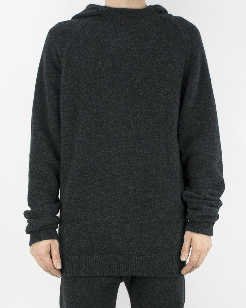 KNIT HOODED CREW NECK GRAPHITE
