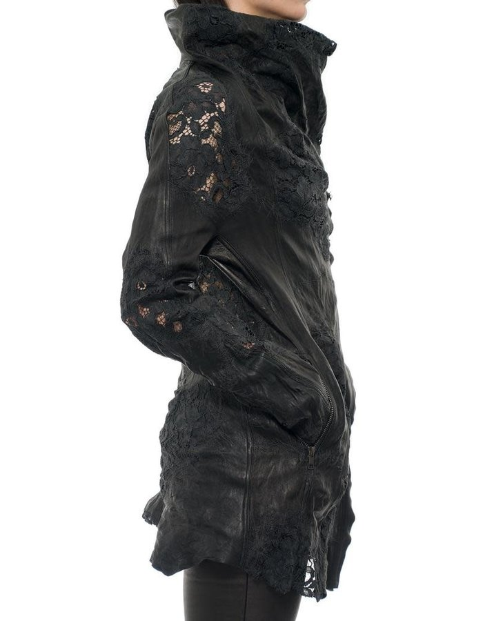 SANDRINE PHILIPPE LEATHER COUTURE JACKET WITH EMBROIDERED FLORAL LACE