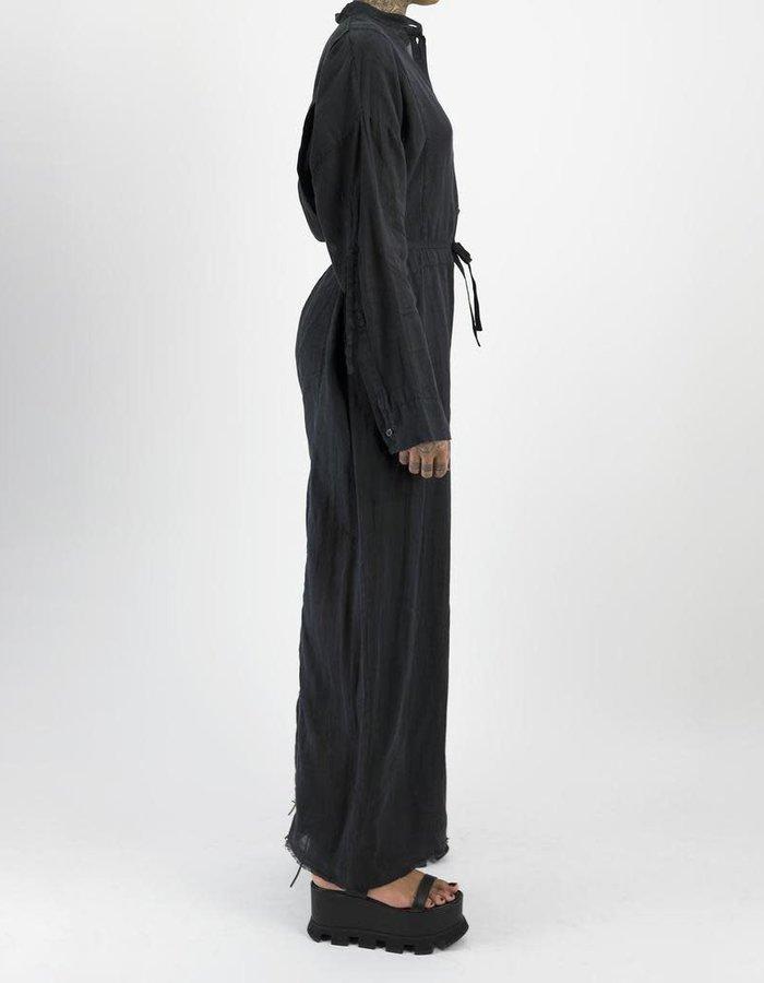 MASNADA COLLARLESS BOILER SUIT - BLACK