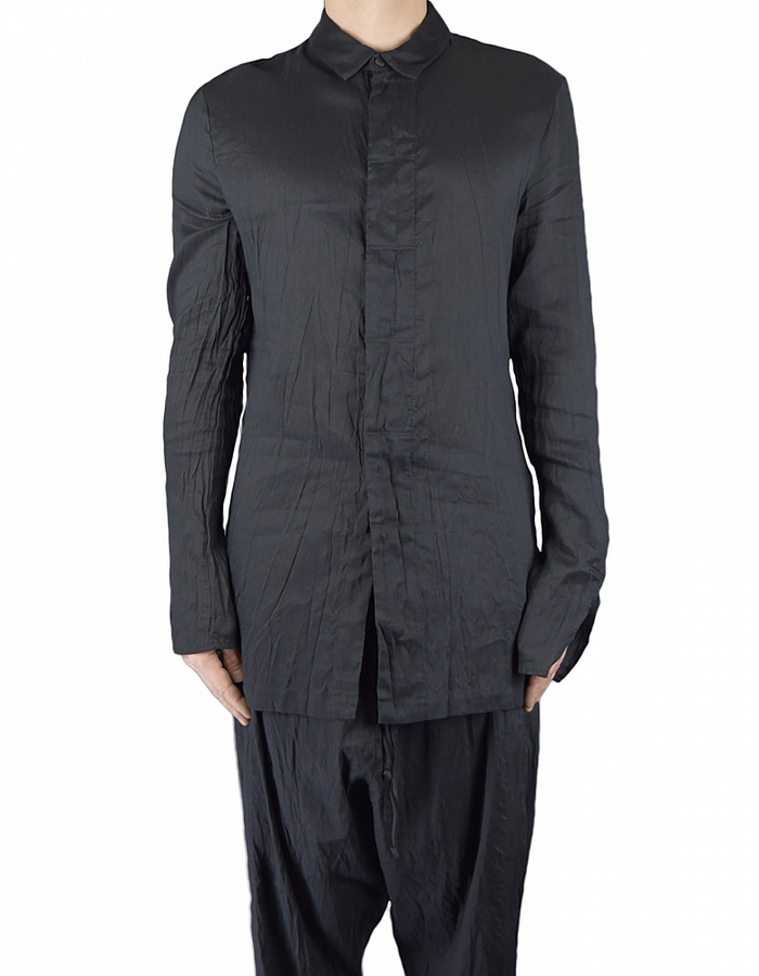 LOST AND FOUND REN SHIRT COTTON / LINEN /SILK - BLK