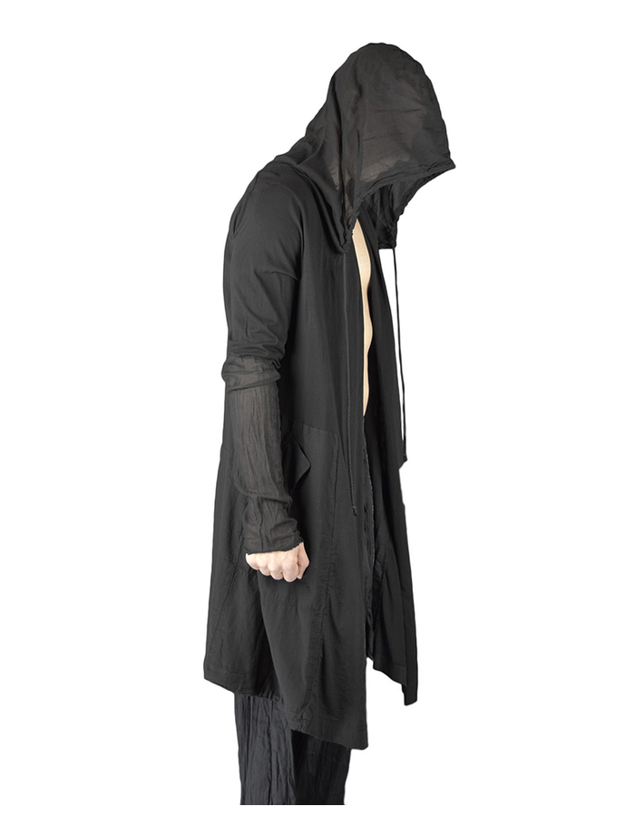 LOST AND FOUND COTTON HOODED PARKA - BLACK