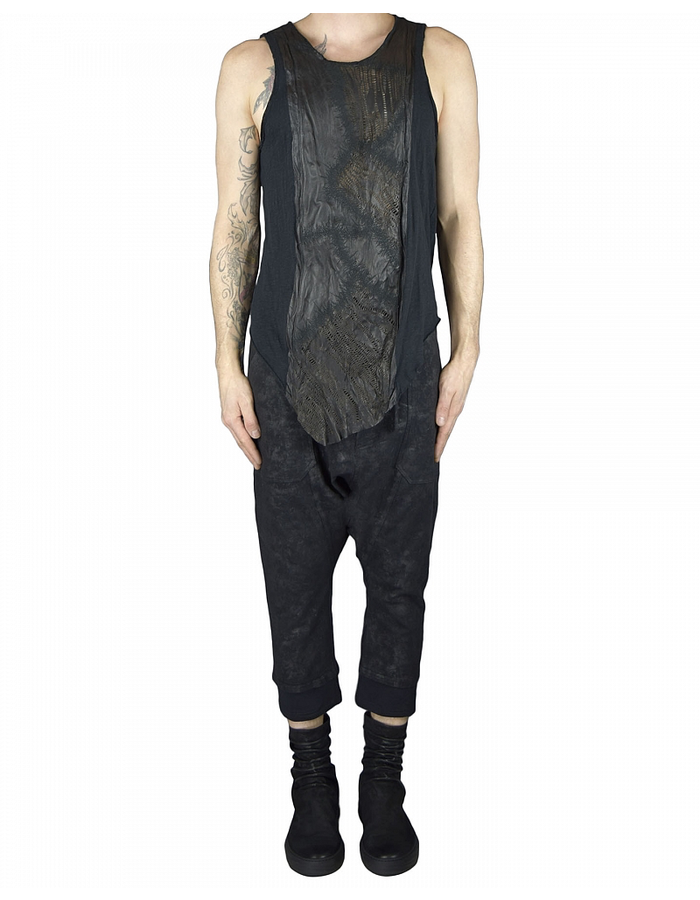 SANDRINE PHILIPPE COTTON TANK TOP WITH HAND CUT LEATHER PANELS