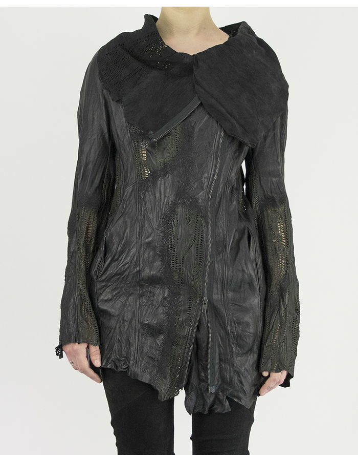 SANDRINE PHILIPPE LEATHER JACKET WITH  HAND CUT DETAILS