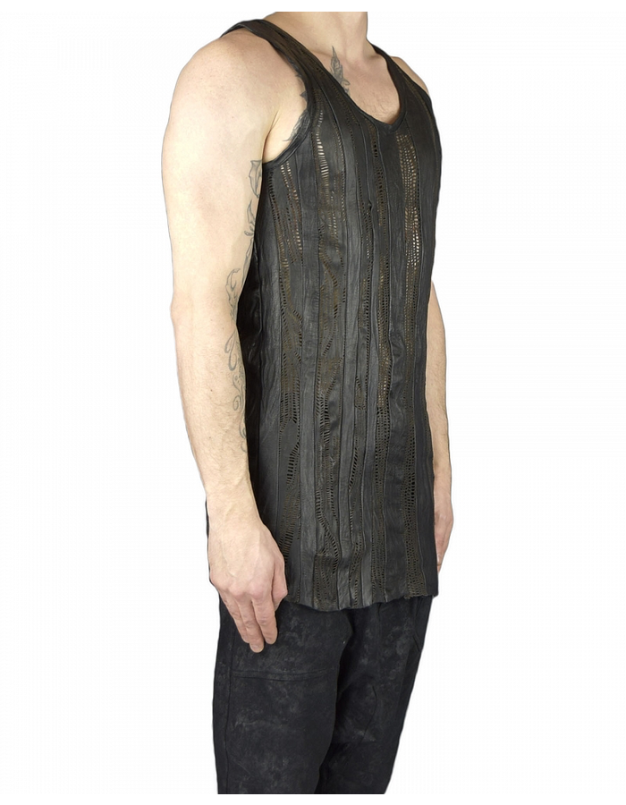SANDRINE PHILIPPE TANK TOP WITH LEATHER STRIPES