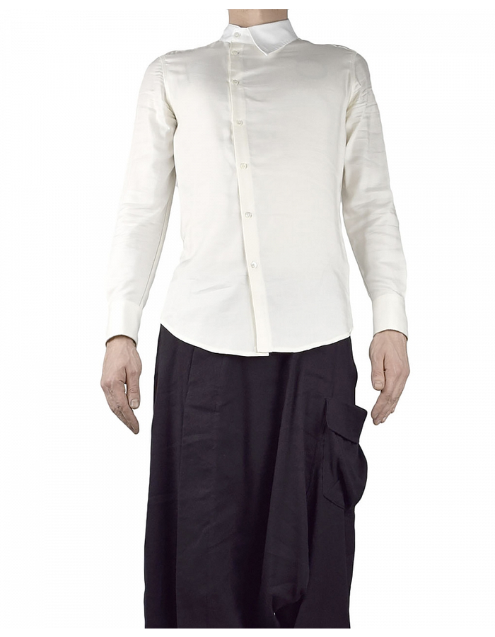 TOM REBL ONE COLLAR SIDE BUTTON SHIRT - IVORY